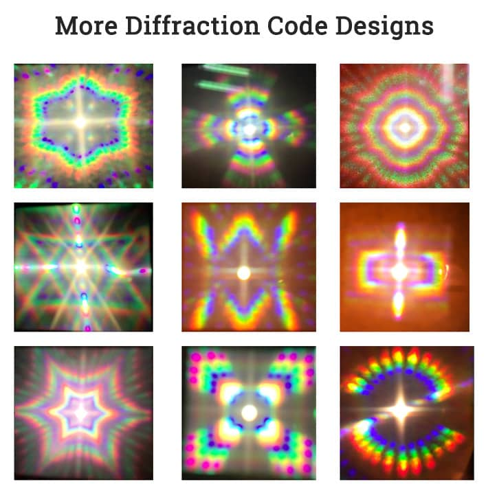 more diffraction code hologram images demos