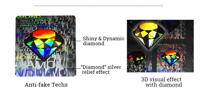 shiny diamond pattern hologram sticker