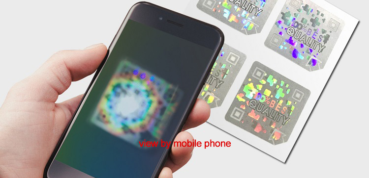square diffraction code hologram sticker, see hidden image under mobile phone
