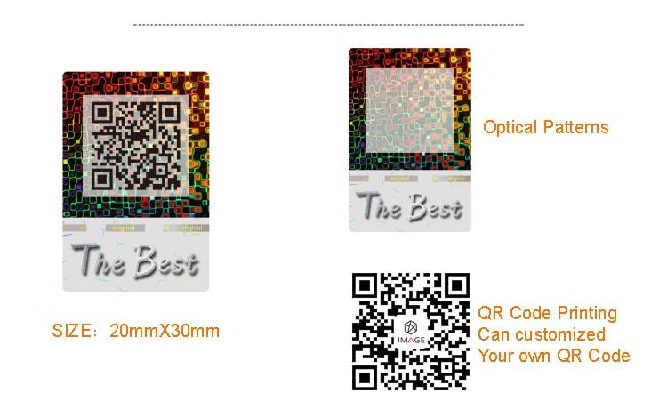 20X30mm security qr code sticker