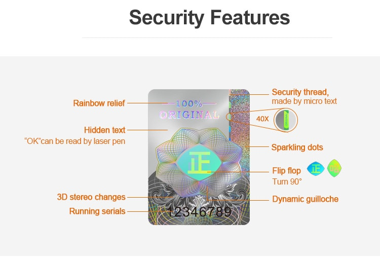 anti-fake hologram sticker with more than 7 security features