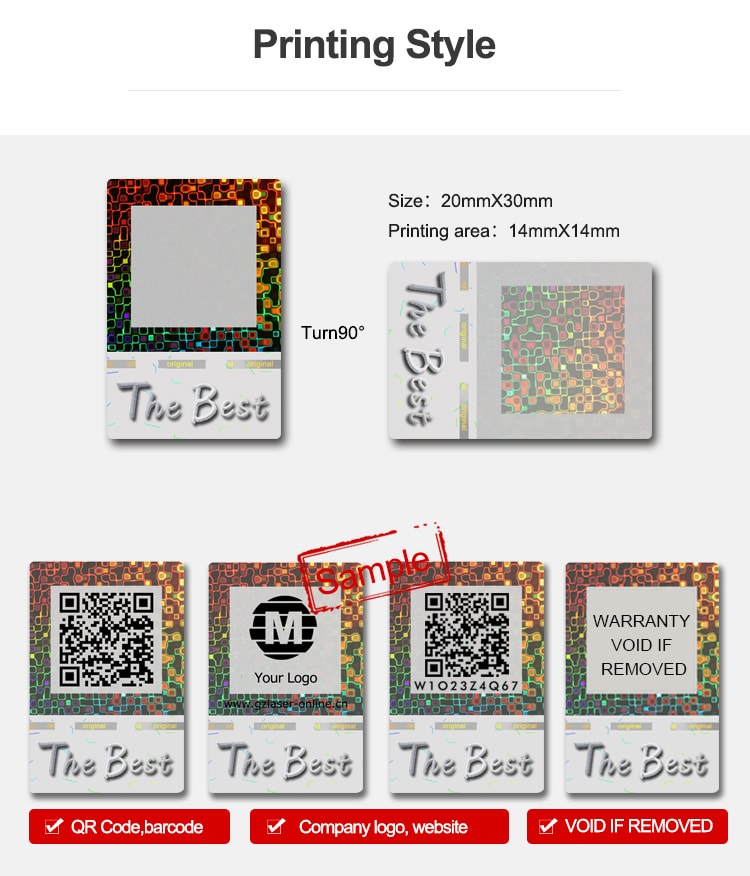 available printing types of security qr code sticker