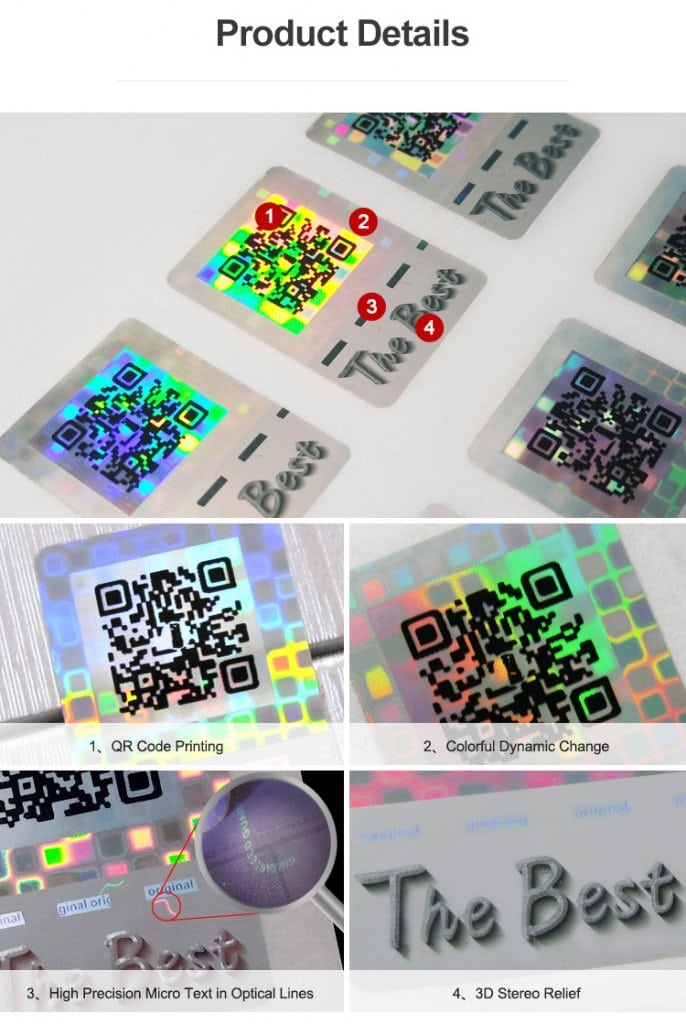 rectangular hologram security qr code sticker