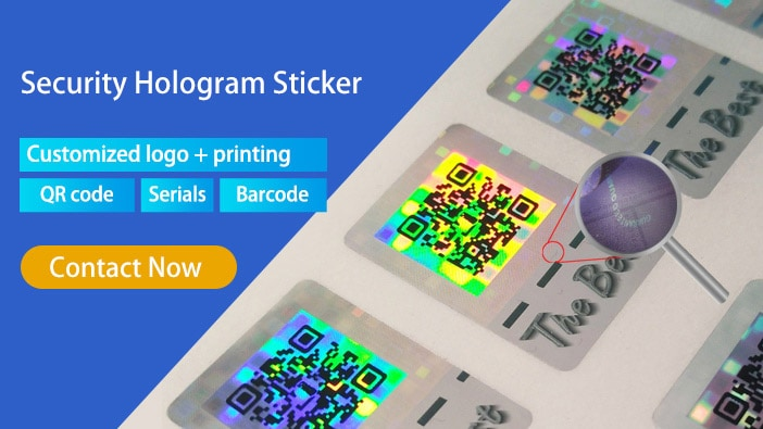 security hologram sticker, can be printed with qr code, serial and custom logo