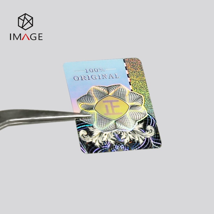 silver holographic sticker, Chinese character (zheng) can be seen form one angle,