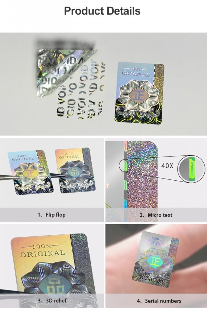 silver holographic sticker security technologies