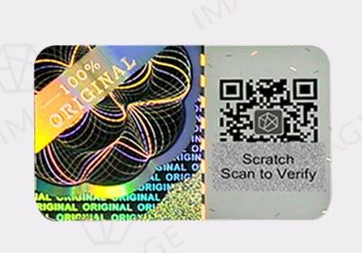 2D 3D Hologram Sticker with Scratch QR Code