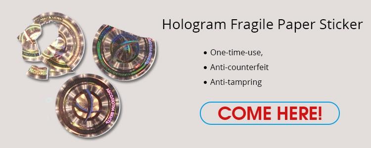 Breakable Fragile Paper Hologram Sticker