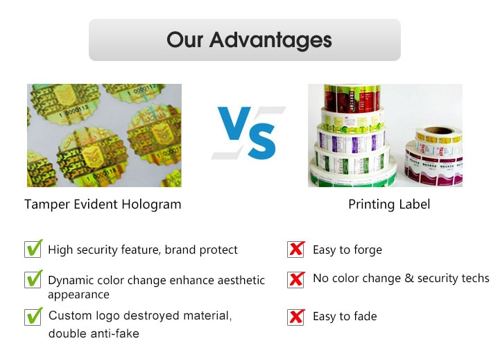 compared with printing label, tamper evident hologram advantages