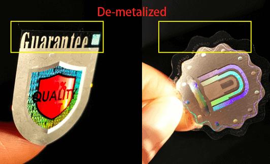 demetallization hologram sticker