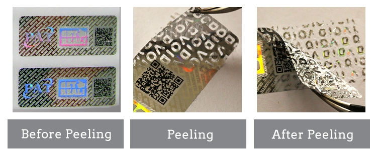 qr code printing security hologram sticker, void appears if removed the stickers