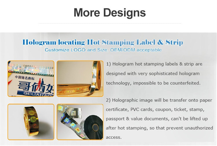 hologram hot stamping strips and labels