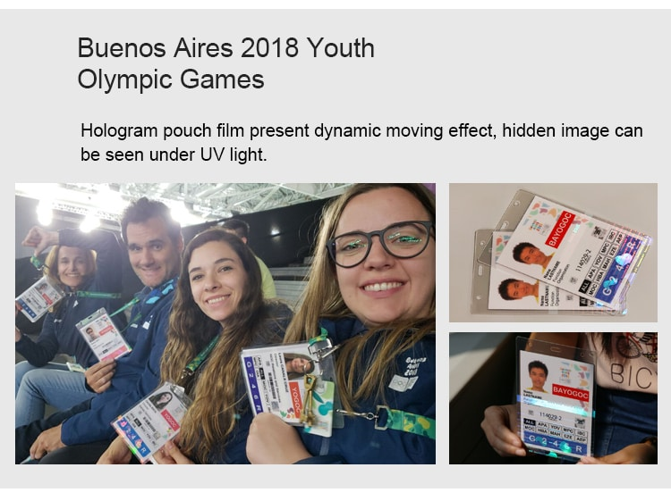 hologram laminate pouch for Buenos Aires 2018 Youth Olympic Games