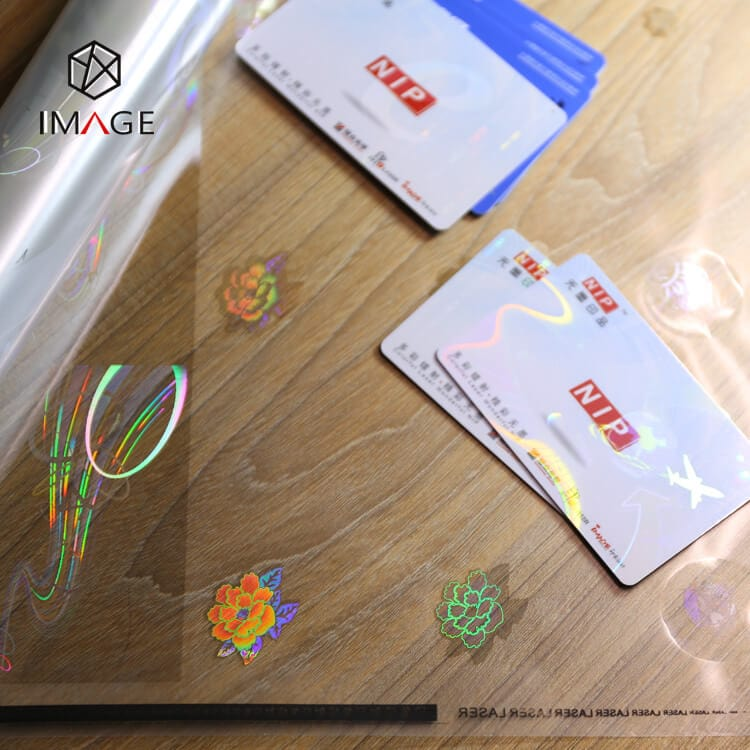 id holographic laminate overlay, can be customized with your logo