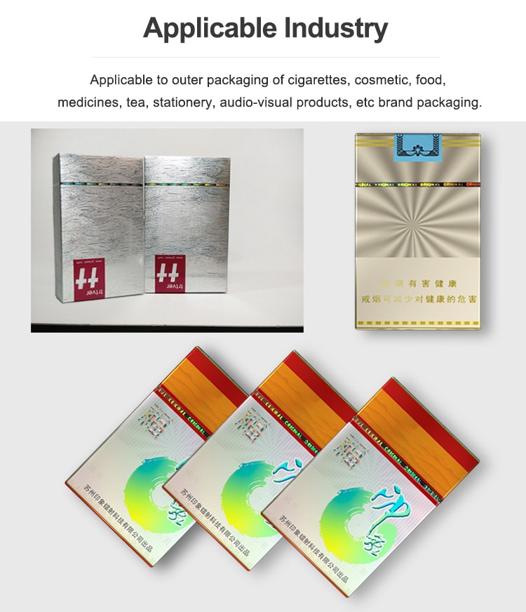 tear tape can be used for cigarette, tea, cosmetics, pharmaceuticals, poker, chewing gum, and audio-visual products.