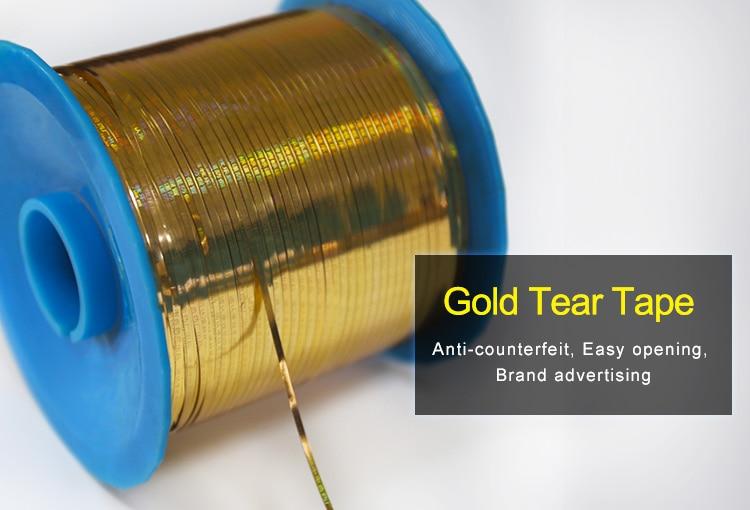 2.5mm gold hologram tear tape for medicine packaging