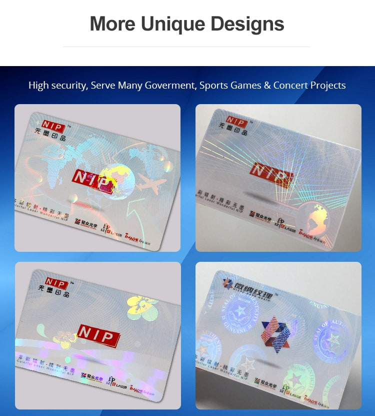 More Designs of Hologram Overlays for PVC ID Cards