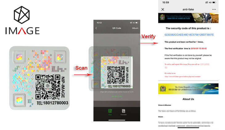QR code security label with traceability features