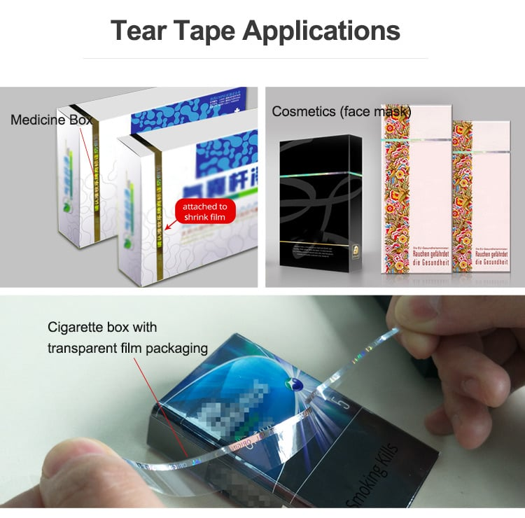 Tear tape for medicine, cigarette and cosmetic box