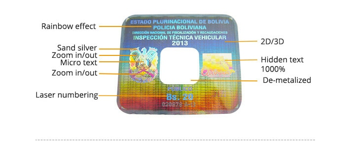 hologram windshield sticker with security elements