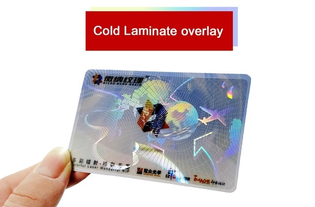 holographic cold laminate overlays for id cards