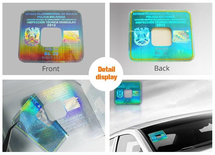 square holographic car windshield sticker