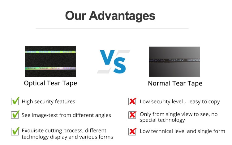 advantages of optical security tear tape than normal tear tape