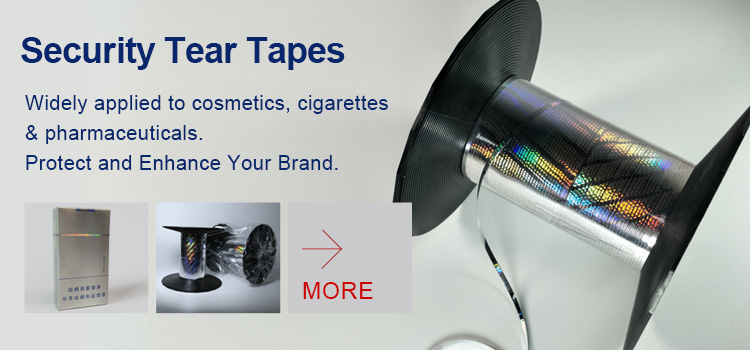 optical security tear tapes for cigarette packaging box