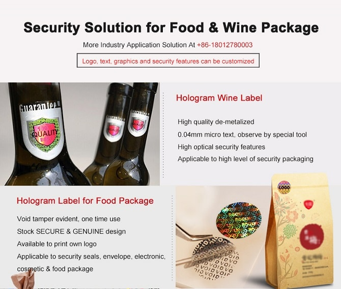 security hologram solution for food and wind package