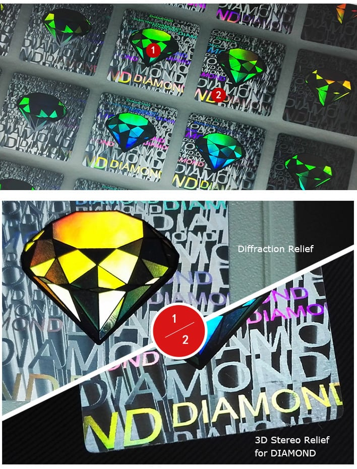 Hologram Sticker with 3D Relief Dimond Image