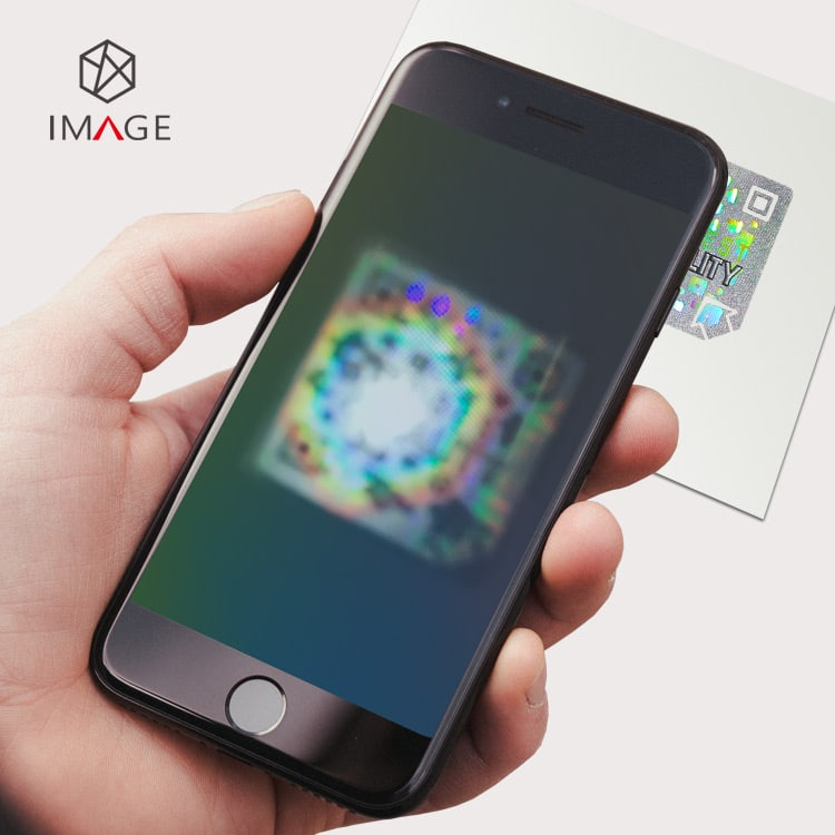 diffraction code hologram sticker, view by mobile phone