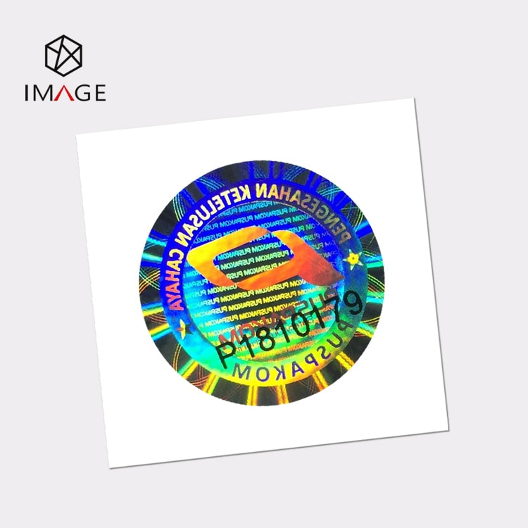 round serial number hologram label