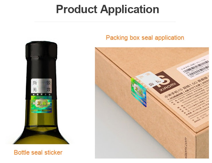 holographic label for sealing wine bottle and package box