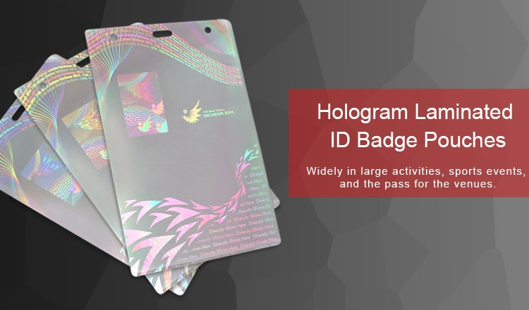 attractive hologram laminated ID badge pouches