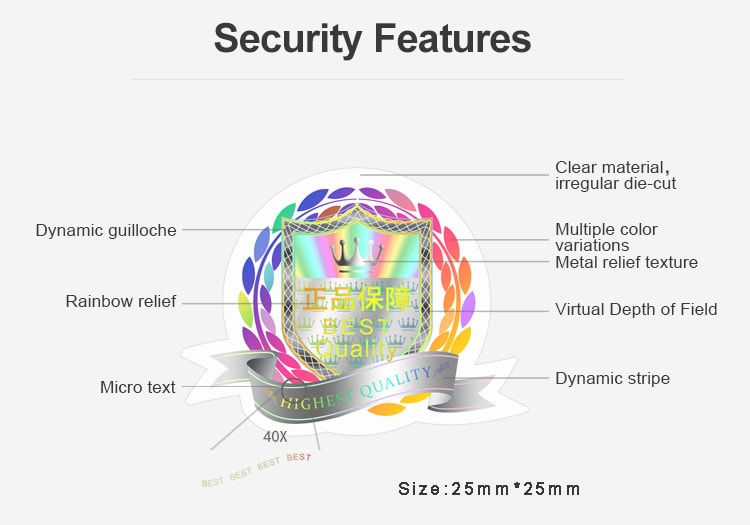 transparent sticker with more than seven security features