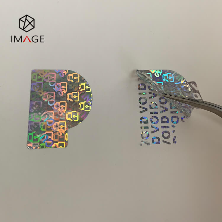 Letter P Shape Hologram Sticker, Void Tamper Evident