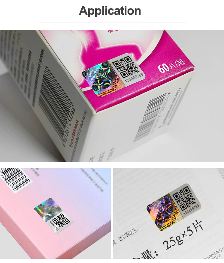 QR Hologram Sticker for Cosmetic Packaging Boxes