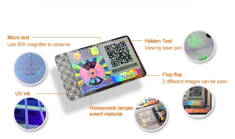 anti tamper qr hologram sticker with five security technology