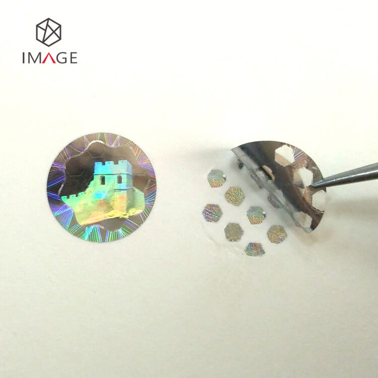 circle dots pattern holographic tamper evident label