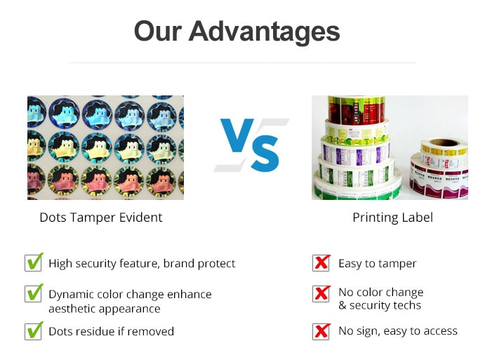 compared with printing label, holographic dots tamper evident is more security