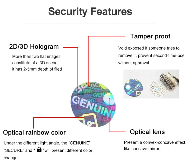 four security elements that the small round hologram sticker applied