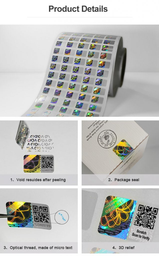 hologram sticker that print qr code, serial and scratch qr code, Void Tamper Evident Material