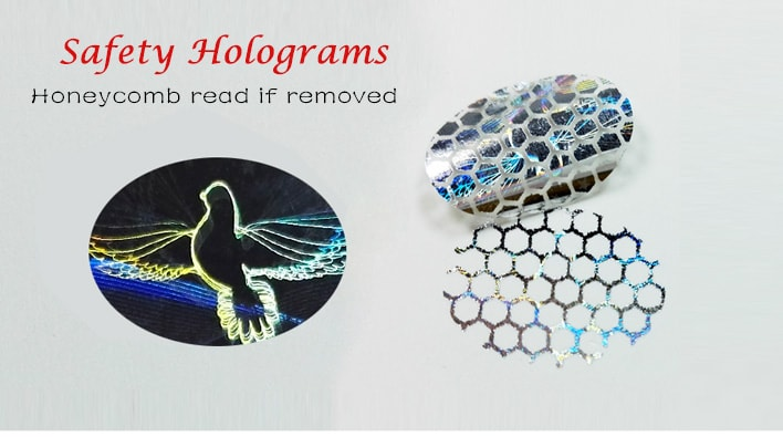 hologram tamper evident security labels, honeycomb pattern read if removed