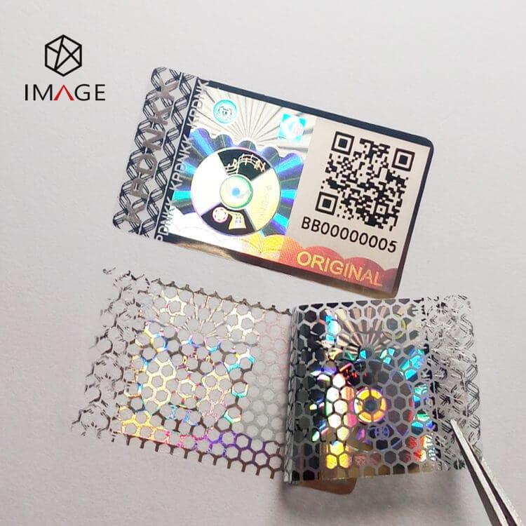 honeycomb anti tamper qr code hologram sticker