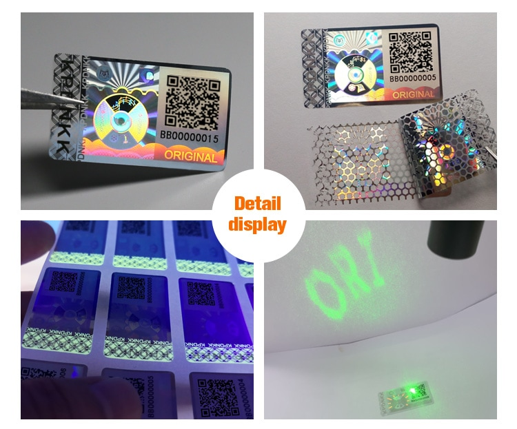 rectangular qr code anti tamper holographic sticker