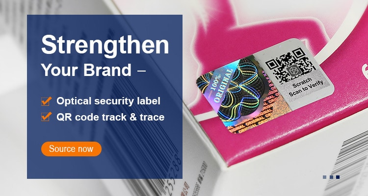 scratch qr code hologram sticker for track and trace
