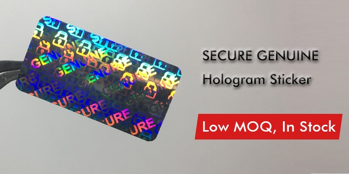 shiny hologram sticker with genuine secure image