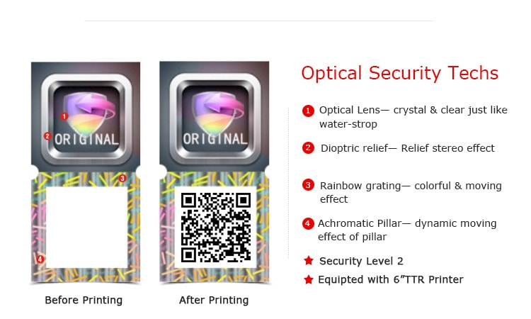 3d hologram qr code sticker with shield patern and original word