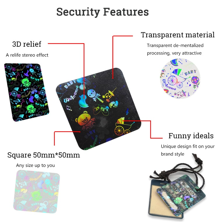 50mm square clear hologram label with 3D relief image