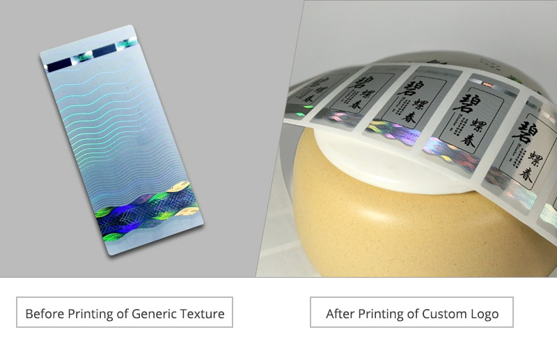 Comparison of holographic sticker before and after printing